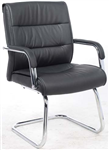 CHAIR VISITOR BLACK PU CHROME CANTILEVER BASE PADDED ARMS