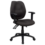 Sabina YS43B Chair Clerical Medium Back With Arms BLACK