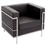 Rapid Space Single Seater Reception Lounger Black PU