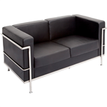 Rapid Space 2 Seater Reception Lounger Black PU