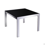 Rapid Coffee Table 600X600X450H mm Chrome Frame Black Glass Top CHROME