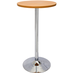 RAPID DRY BAR TABLE 600MM ROUND TOP 1075H CHROME BASE BEECH TOP