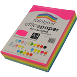 Rainbow Paper A4 75gms 4 Fluro Assorted Colours
