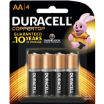 Duracell Battery Coppertop Alkaline AA Pack 4