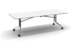 RAPID EDGE FOLDING TABLE 2400X1000X743MM WITH 18MM RUBBER EDGED TOP AND CHROME FRAME WHITE