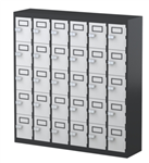 30 DOOR MOBILE PHONE LOCKER 940H X 900W X 225D GRAPHITE CARCASS WHITE