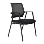 LANZA ARM CHAIR MESH BACK BLACK 4 LEG GLIDES
