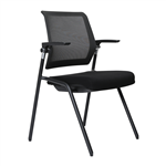 LANZA CHAIR STACKABLE MESH BACK BLACK 4 LEG ON GLIDES SEAT SLIDE RECLINE BACK