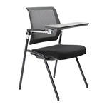 LANZA CHAIR STACKABLE MESH BACK BLACK RH WRITING TABLET 4 LEG GLIDES SEAT SLIDE RECLINE BACK