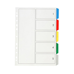 Marbig Dividers PP A4 5 Tab Multi Colour