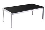 RAPID COFFEE TABLE 1200X600X450H CHROME FRAME BLACK GLASS TOP