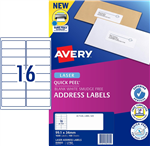 Avery Quick Peel Address Labels SF L7162 16UP 100