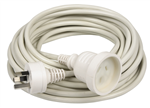 10M Extension Power Cord 10m White